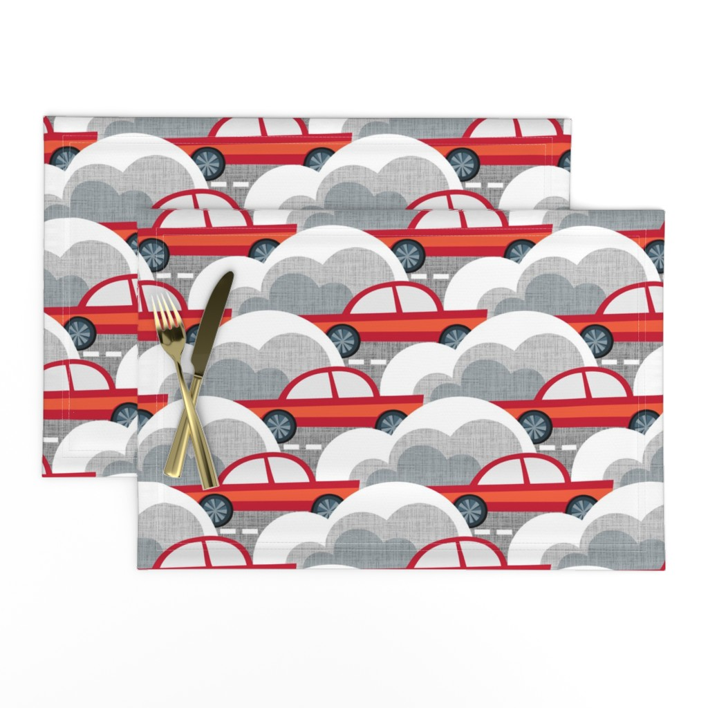 Lamona Cloth Placemats featuring Papercut Cars by spellstone