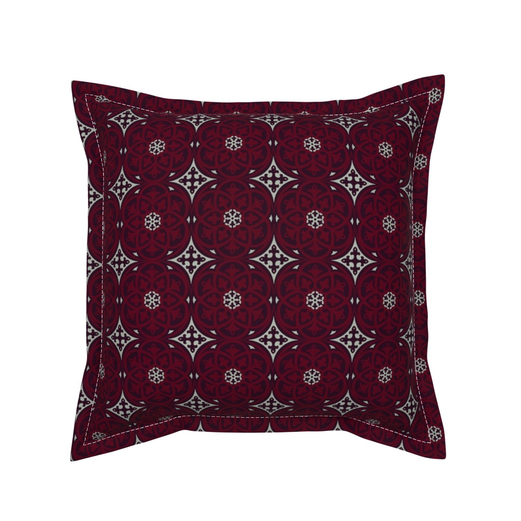 Serama Throw Pillow featuring Moroccan Lattice Elegant Holiday Limited Color Palette  by delinda_graphic_studio