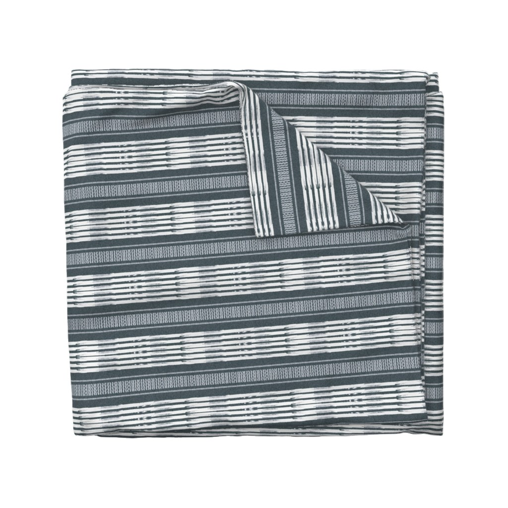 Wyandotte Duvet Cover featuring Gray and White linen Stripes blanket by barbarapritchard