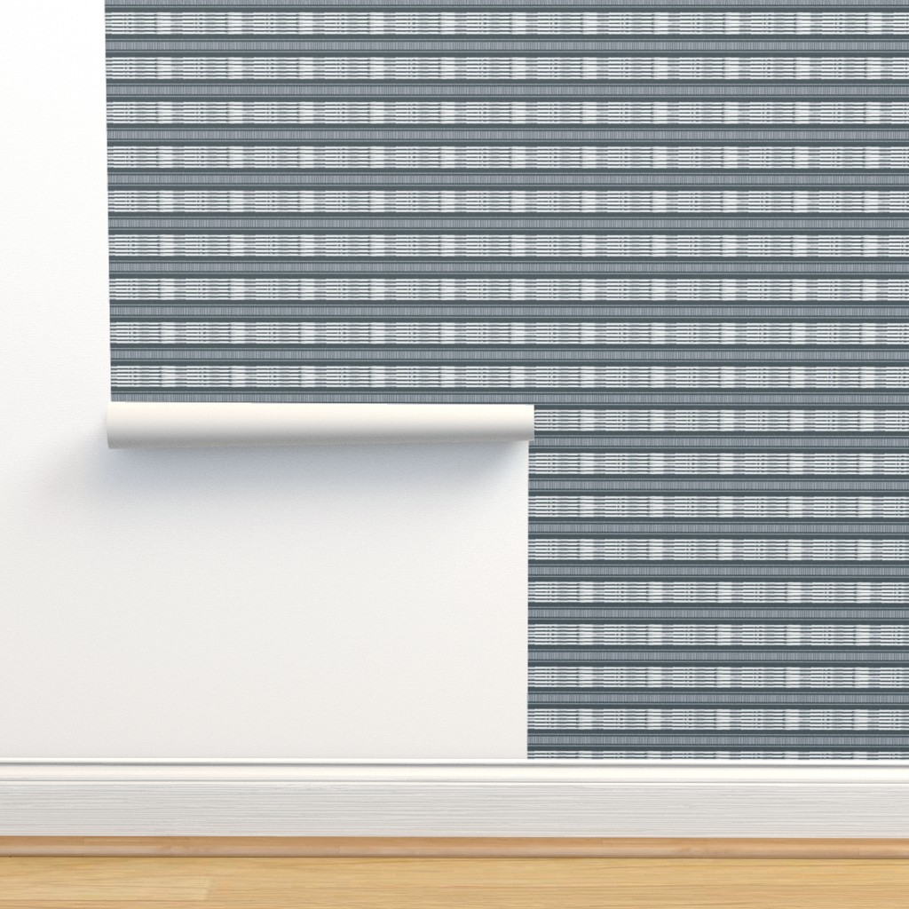 Isobar Durable Wallpaper featuring Gray and White linen Stripes blanket by barbarapritchard