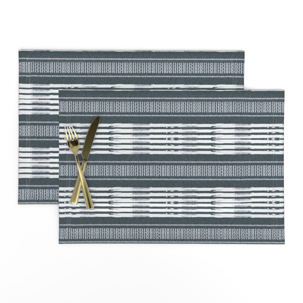 Lamona Cloth Placemats featuring Gray and White linen Stripes blanket by barbarapritchard