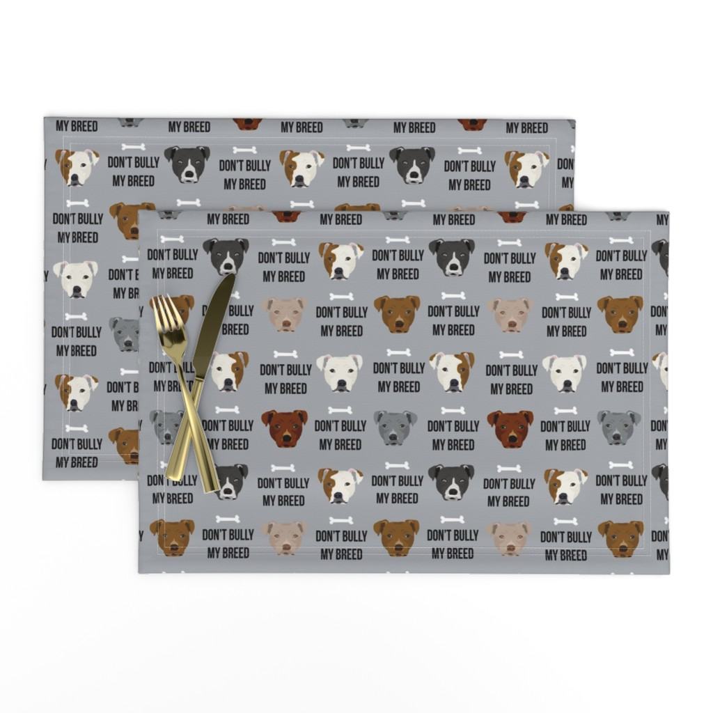 Lamona Cloth Placemats featuring staffordshire terrier staffy bully psa dog breed fabric grey by petfriendly