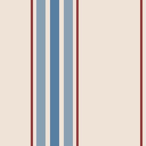 farmhouse ticking stripes in blue and red on cream