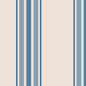 farmhouse ticking stripes in blue and cream