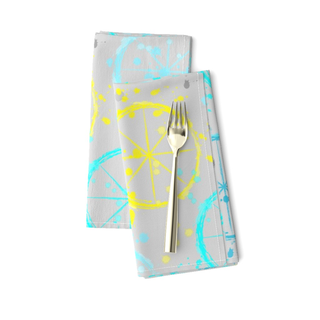 Amarela Dinner Napkins featuring Watercolor wheels by everhigh