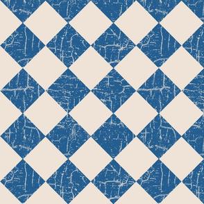 farmhouse checkerboard blue on cream