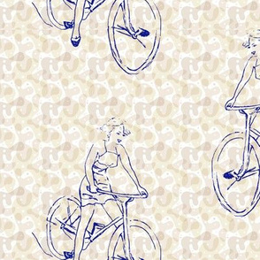 free wheeling bike//retro,beige/neutral, hand drawn bicycle