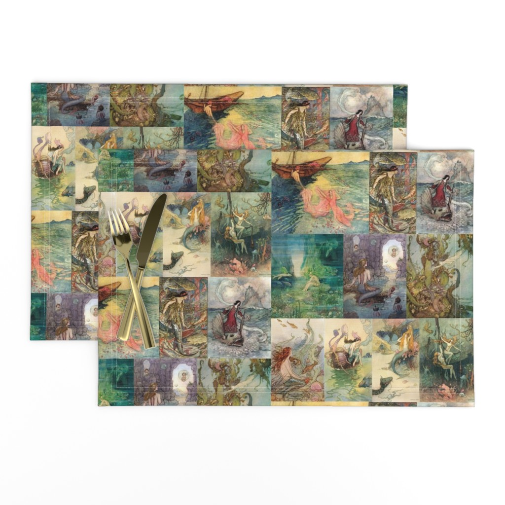 Lamona Cloth Placemats featuring vintage storybook mermaids by poolofblue