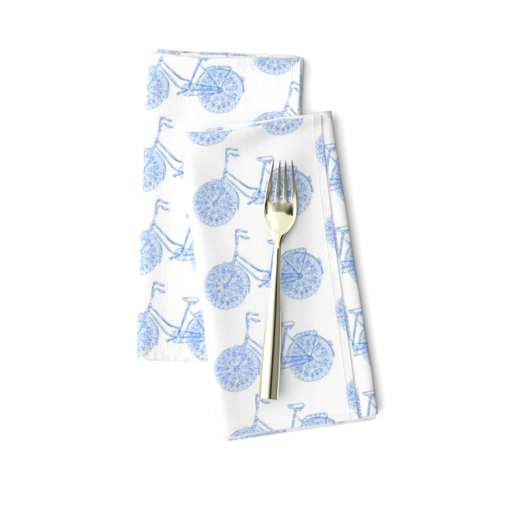 Amarela Dinner Napkins featuring Freestyle Bike (Azure scetch) by helenpdesigns