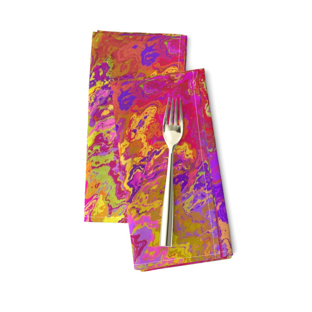 Amarela Dinner Napkins featuring Painted Organic Swirls, Multi Colors by palifino
