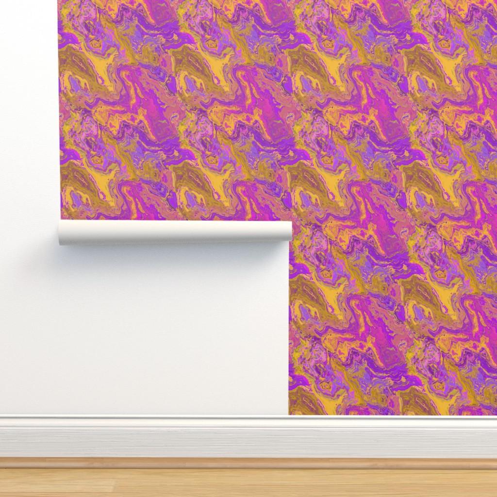 Isobar Durable Wallpaper featuring Painted Organic Swirls 2, Cashew by palifino