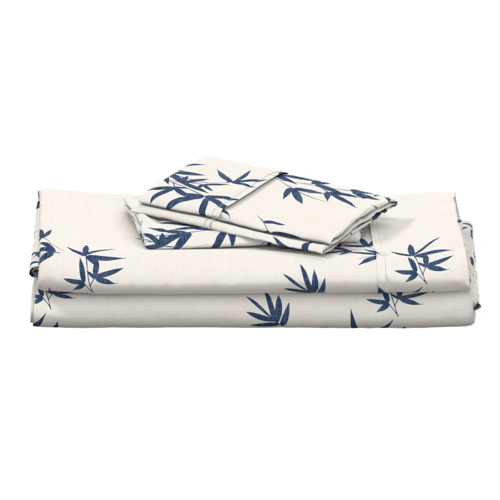 Langshan Full Bed Set featuring Denim Bamboo Leaves by kimsa