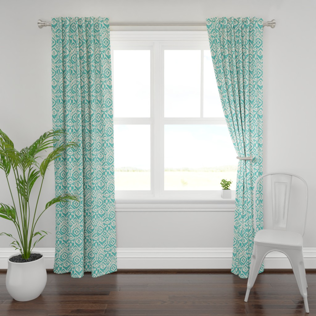 Plymouth Curtain Panel featuring lezat turquoise by scrummy