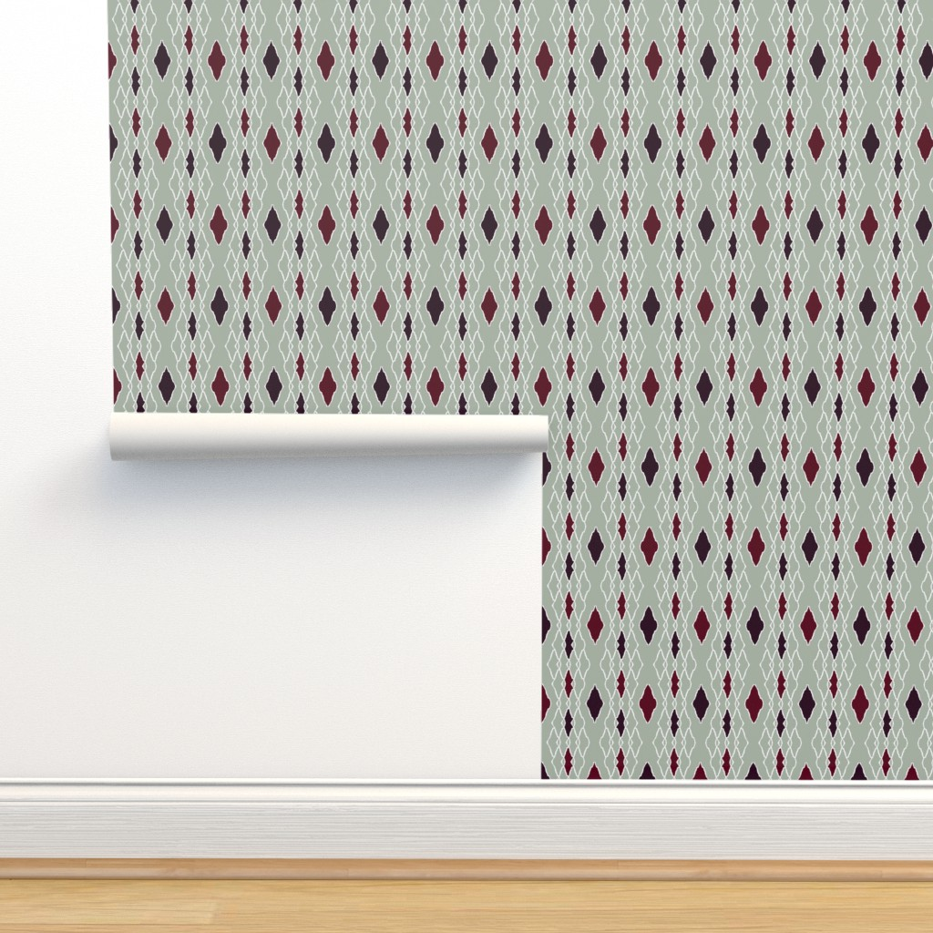 Isobar Durable Wallpaper featuring elegant dark red diamonds by variable