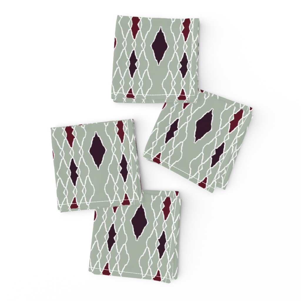 Frizzle Cocktail Napkins featuring elegant dark red diamonds by variable
