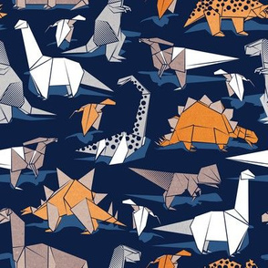 Small scale // Origami dino friends // oxford navy blue background paper orange dinosaurs