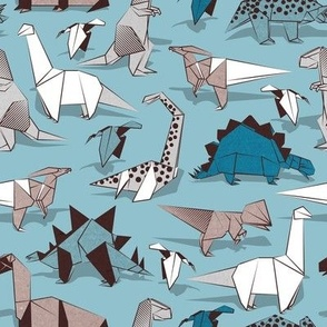 Small scale // Origami dino friends // blue background paper white & blue dinosaurs