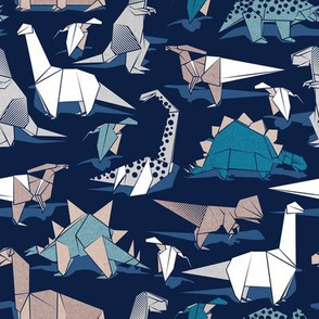 Small scale // Origami dino friends // oxford navy blue background paper blue dinosaurs