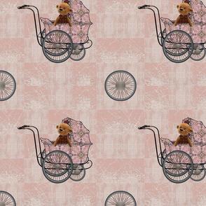 4 wheels teddy pink