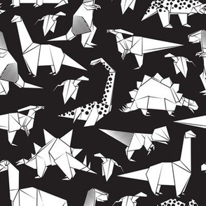 Small scale // Origami dino friends // black background black & white dinosaurs