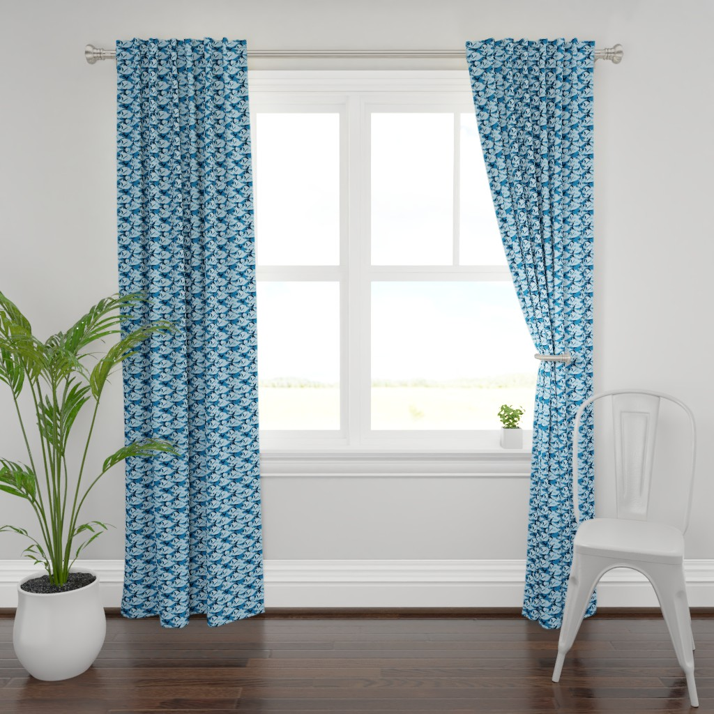Plymouth Curtain Panel featuring Blue  Fish on Blue by lauriekentdesigns