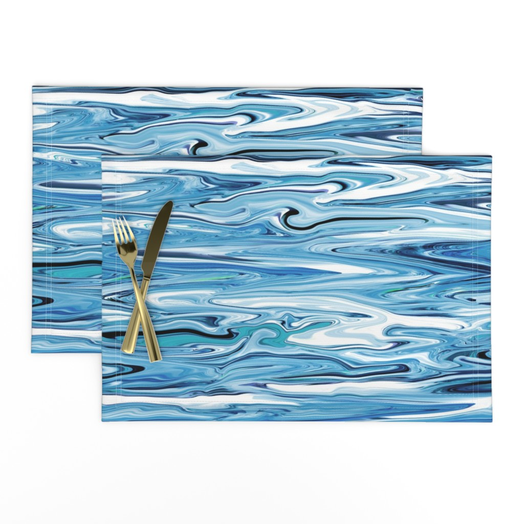 Lamona Cloth Placemats featuring LL- Liquid Lake Blue Marble, large, crosswise by maryyx