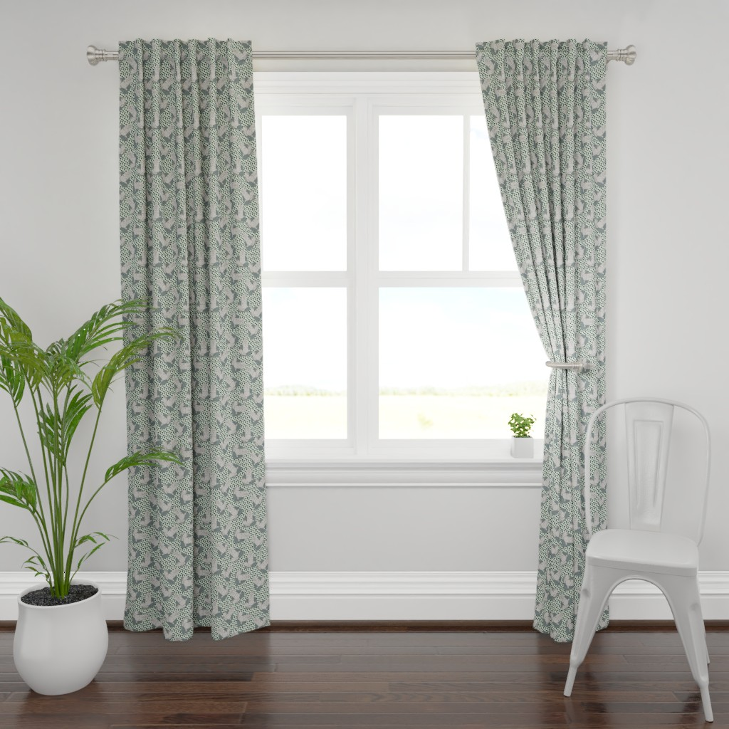 Plymouth Curtain Panel featuring grey buddha on light mint by susiprint