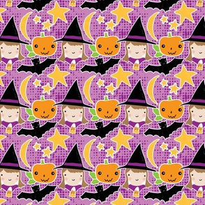 Witches, bats & pumpkins on purple