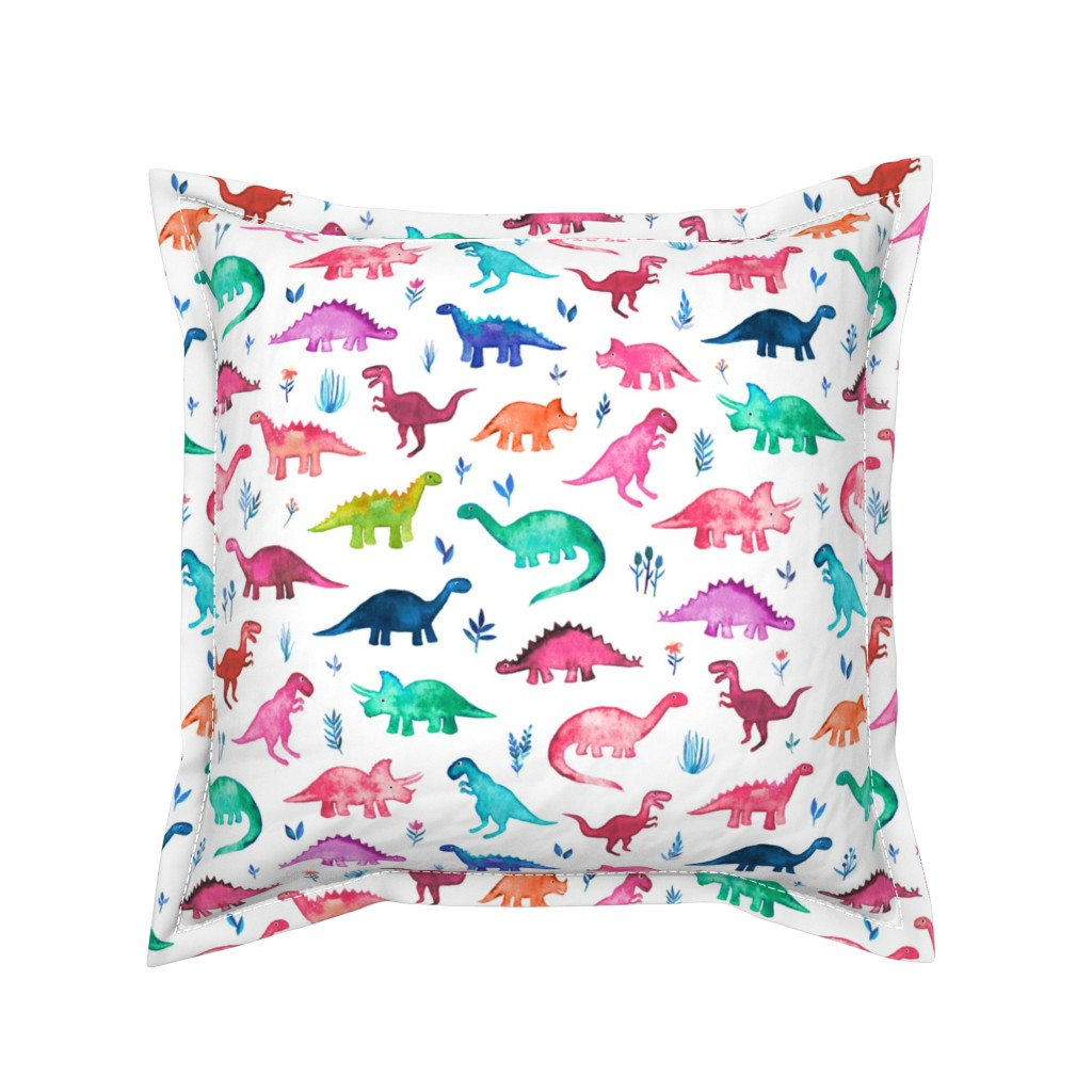 Serama Throw Pillow featuring Little Multicolored Dinos on White by micklyn