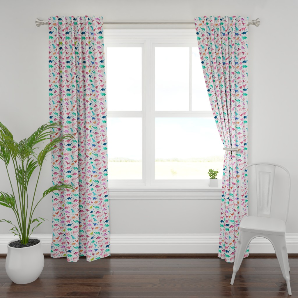 Plymouth Curtain Panel featuring Little Multicolored Dinos on White by micklyn