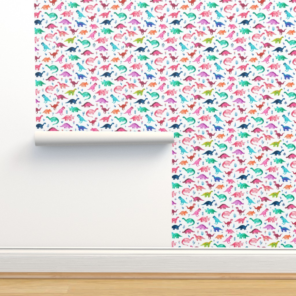Isobar Durable Wallpaper featuring Little Multicolored Dinos on White by micklyn