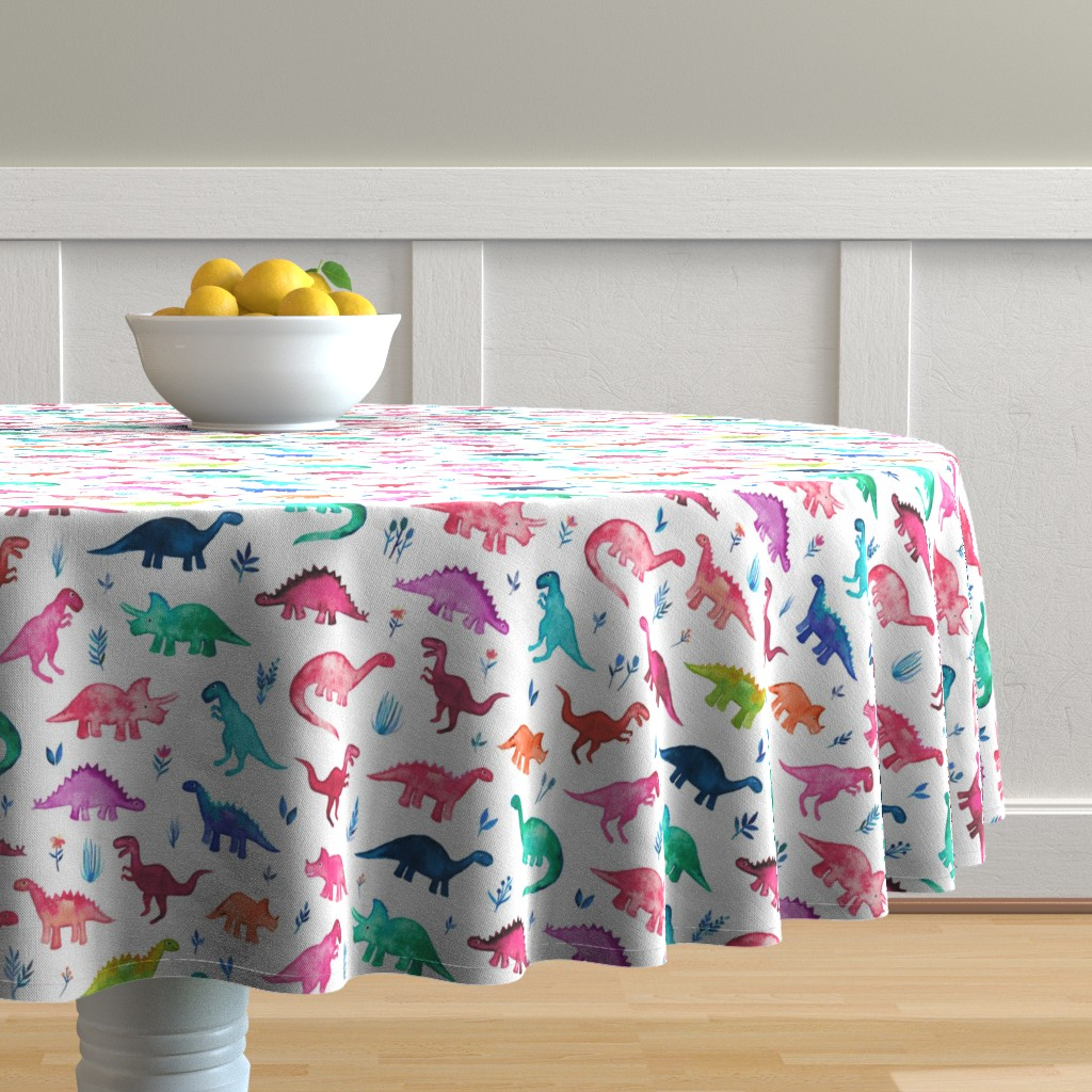 Malay Round Tablecloth featuring Little Multicolored Dinos on White by micklyn