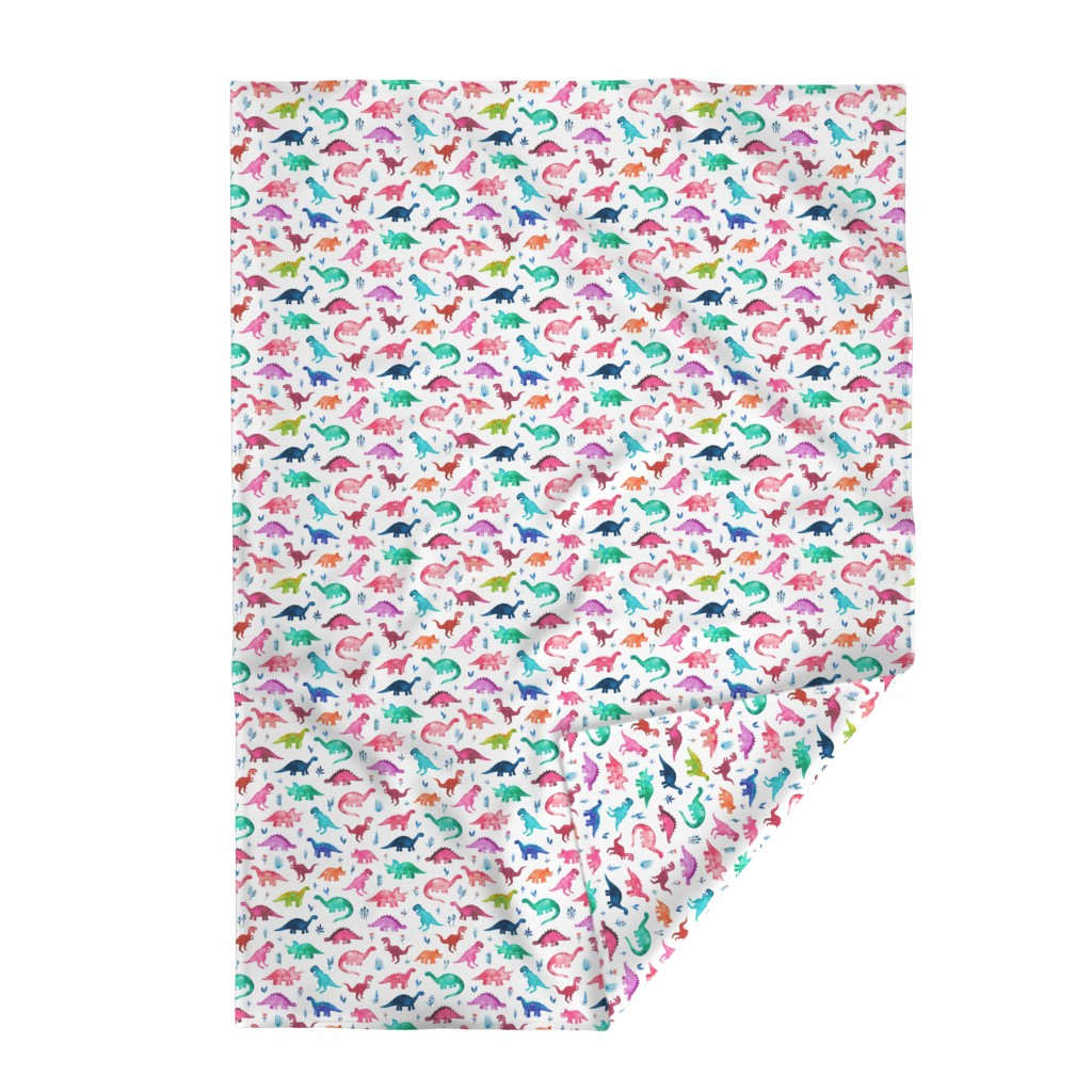Lakenvelder Throw Blanket featuring Little Multicolored Dinos on White by micklyn