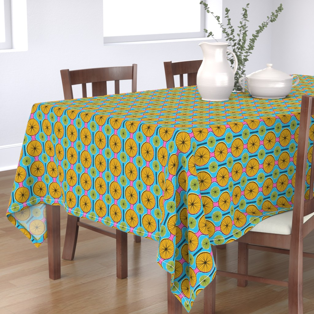 Bantam Rectangular Tablecloth featuring Cycling in the sun by ruth_robson