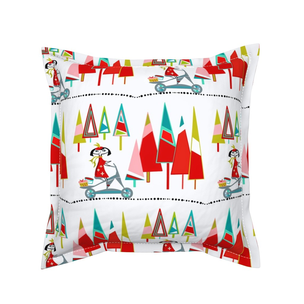 Serama Throw Pillow featuring Hat Shop Girl sewindigo by sewindigo