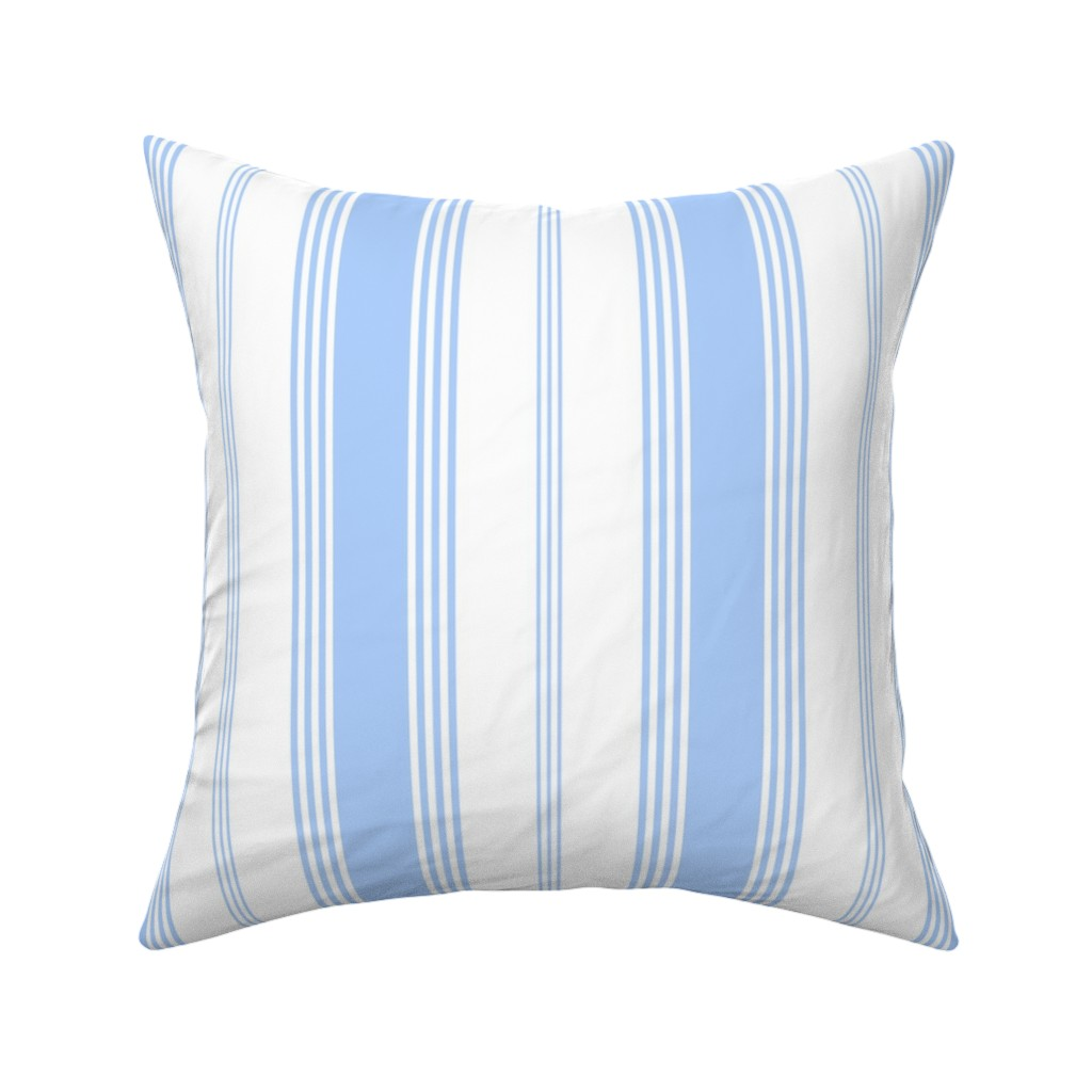 Catalan Throw Pillow featuring Topsail Stripe blueberry by lilyoake