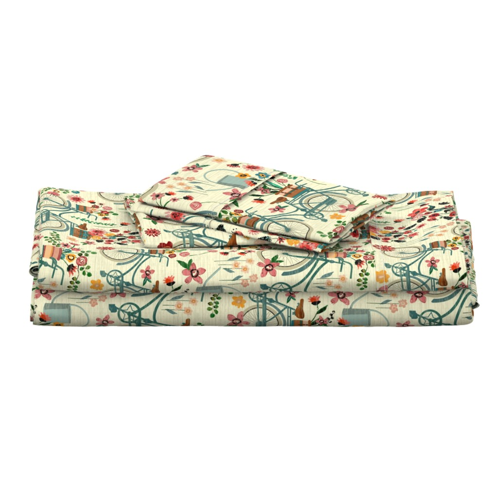 Langshan Full Bed Set featuring Ride To The Flower Market by sarah_treu