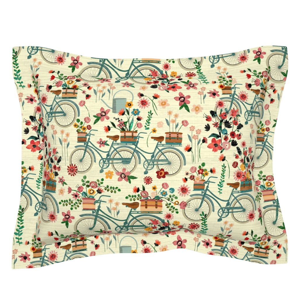 Sebright Pillow Sham featuring Ride To The Flower Market by sarah_treu