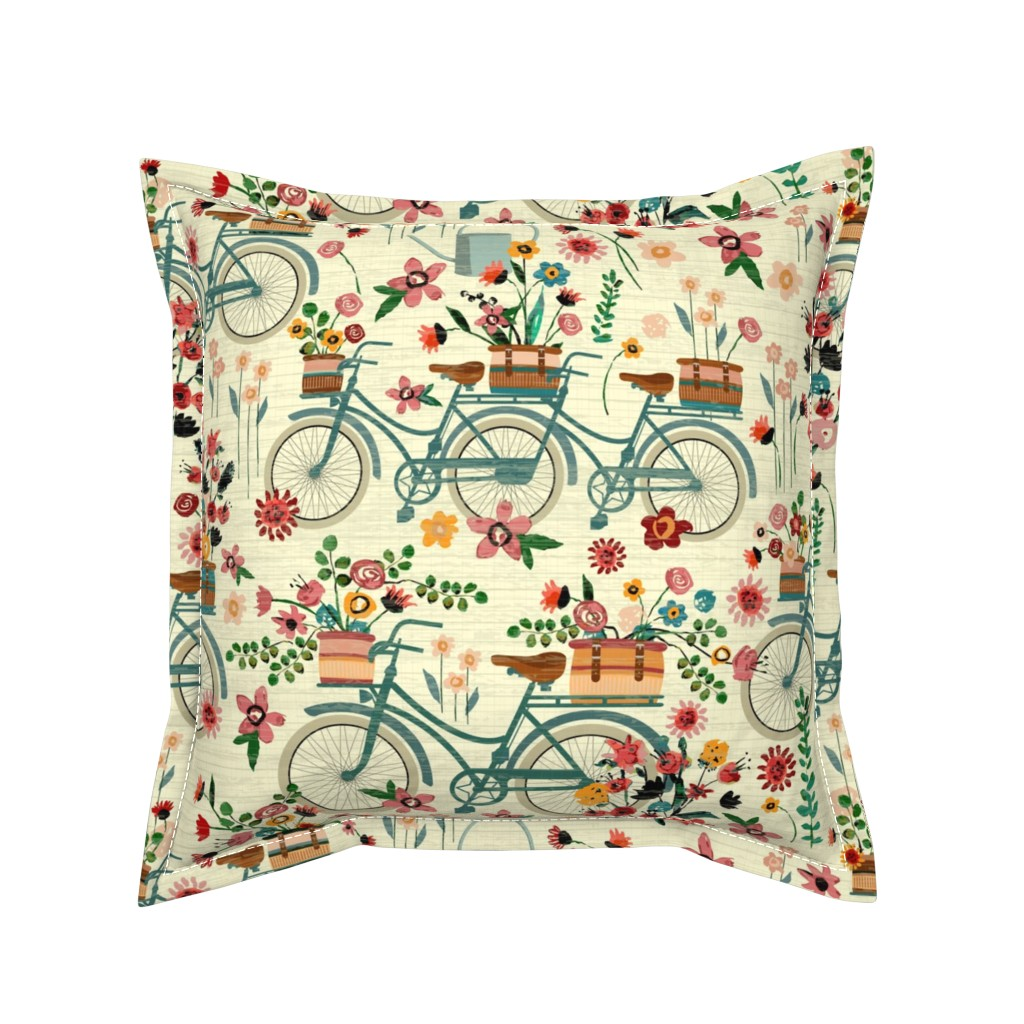 Serama Throw Pillow featuring Ride To The Flower Market by sarah_treu
