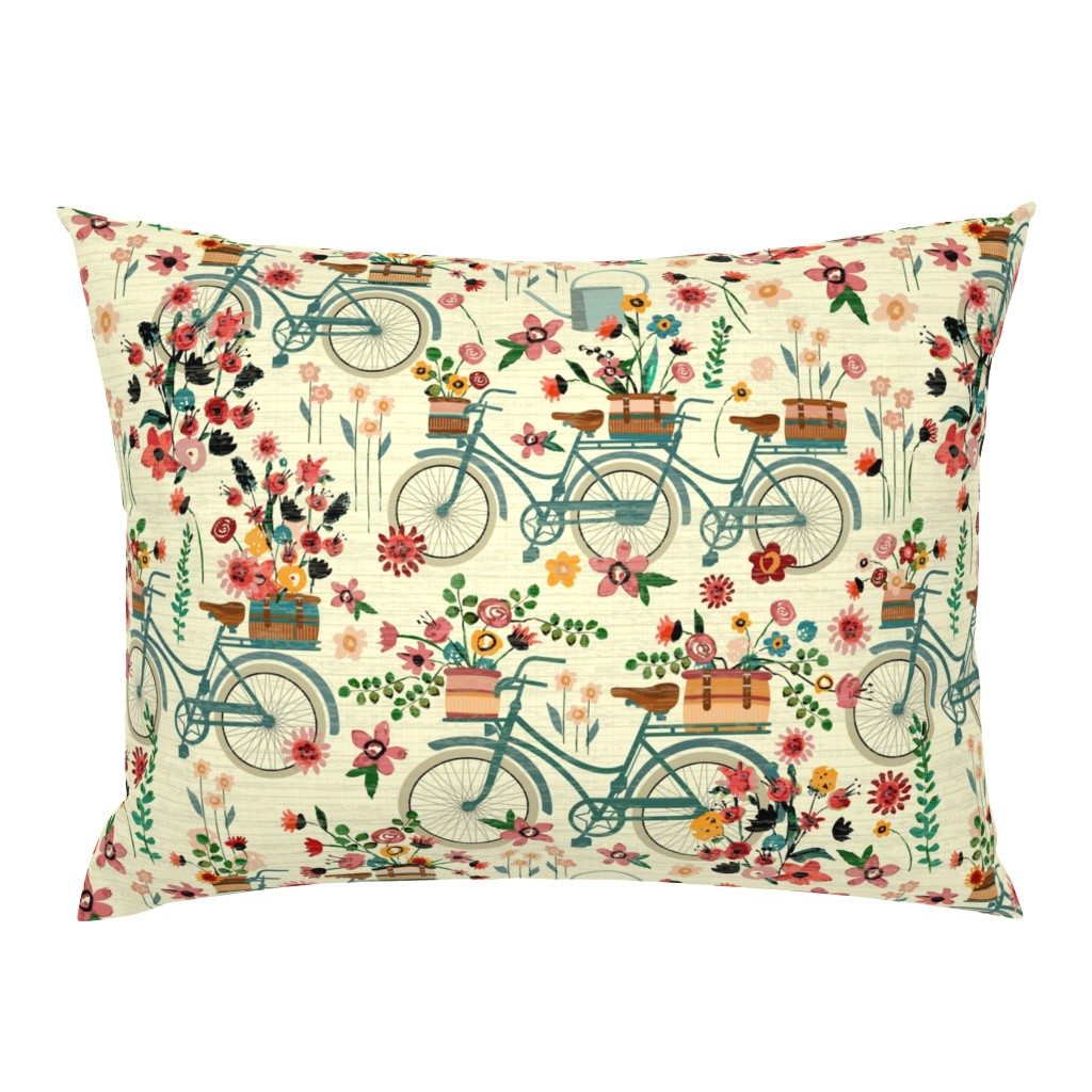 Campine Pillow Sham featuring Ride To The Flower Market by sarah_treu