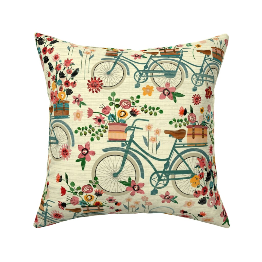 Catalan Throw Pillow featuring Ride To The Flower Market by sarah_treu