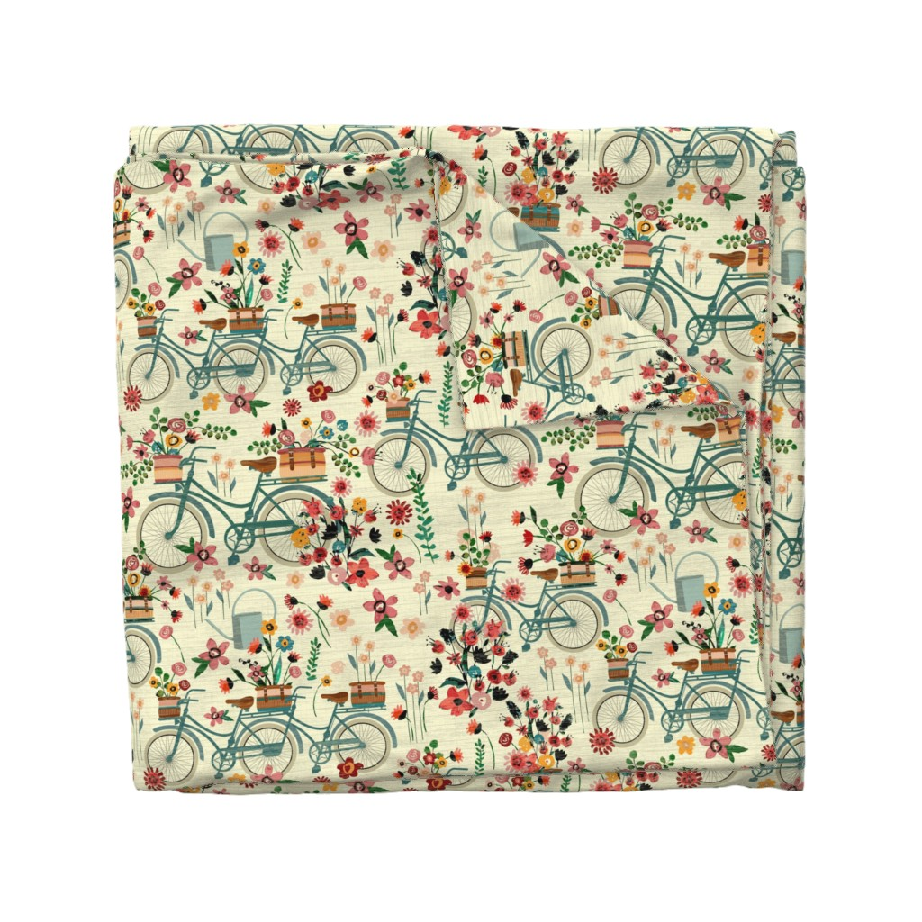 Wyandotte Duvet Cover featuring Ride To The Flower Market by sarah_treu