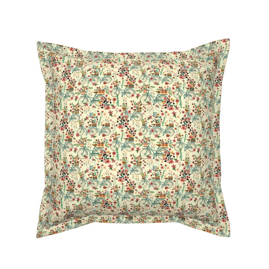 Serama Throw Pillow featuring Ride To The Flower Market-(mini version) by sarah_treu