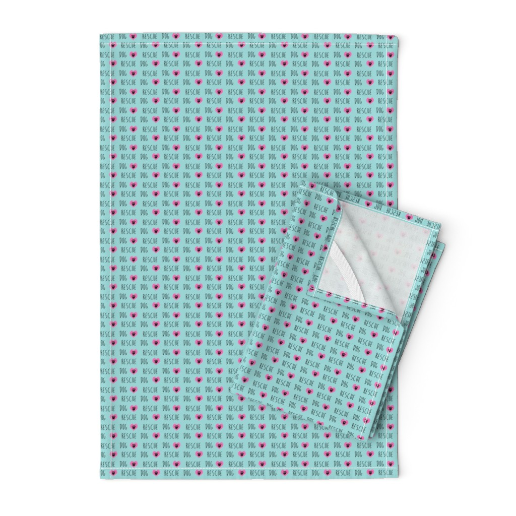 Orpington Tea Towels featuring rescue dog hearts fabric blue by petfriendly