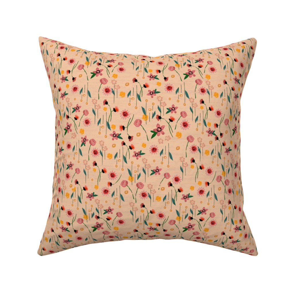 Catalan Throw Pillow featuring Soft Pink Floral by sarah_treu