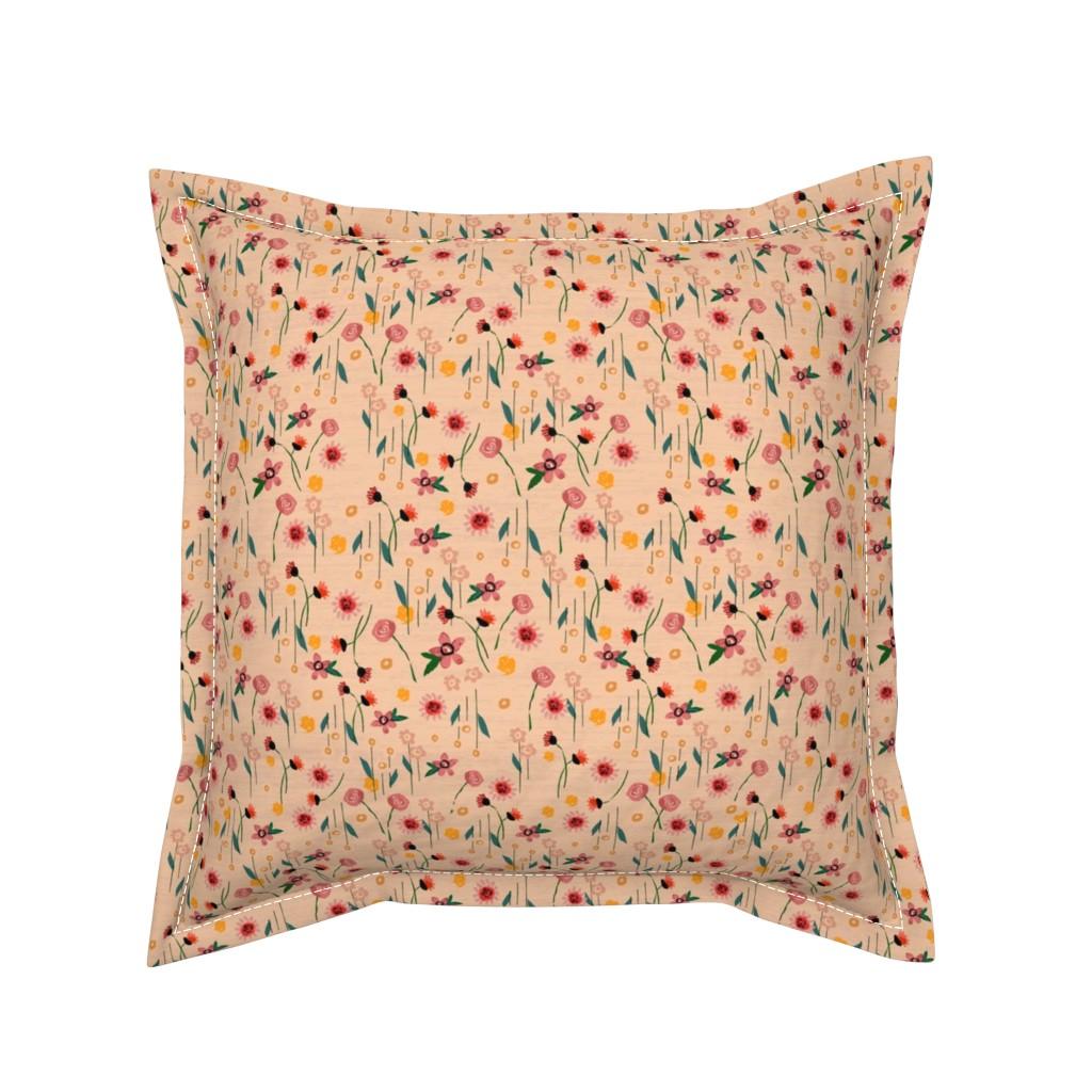 Serama Throw Pillow featuring Soft Pink Floral by sarah_treu