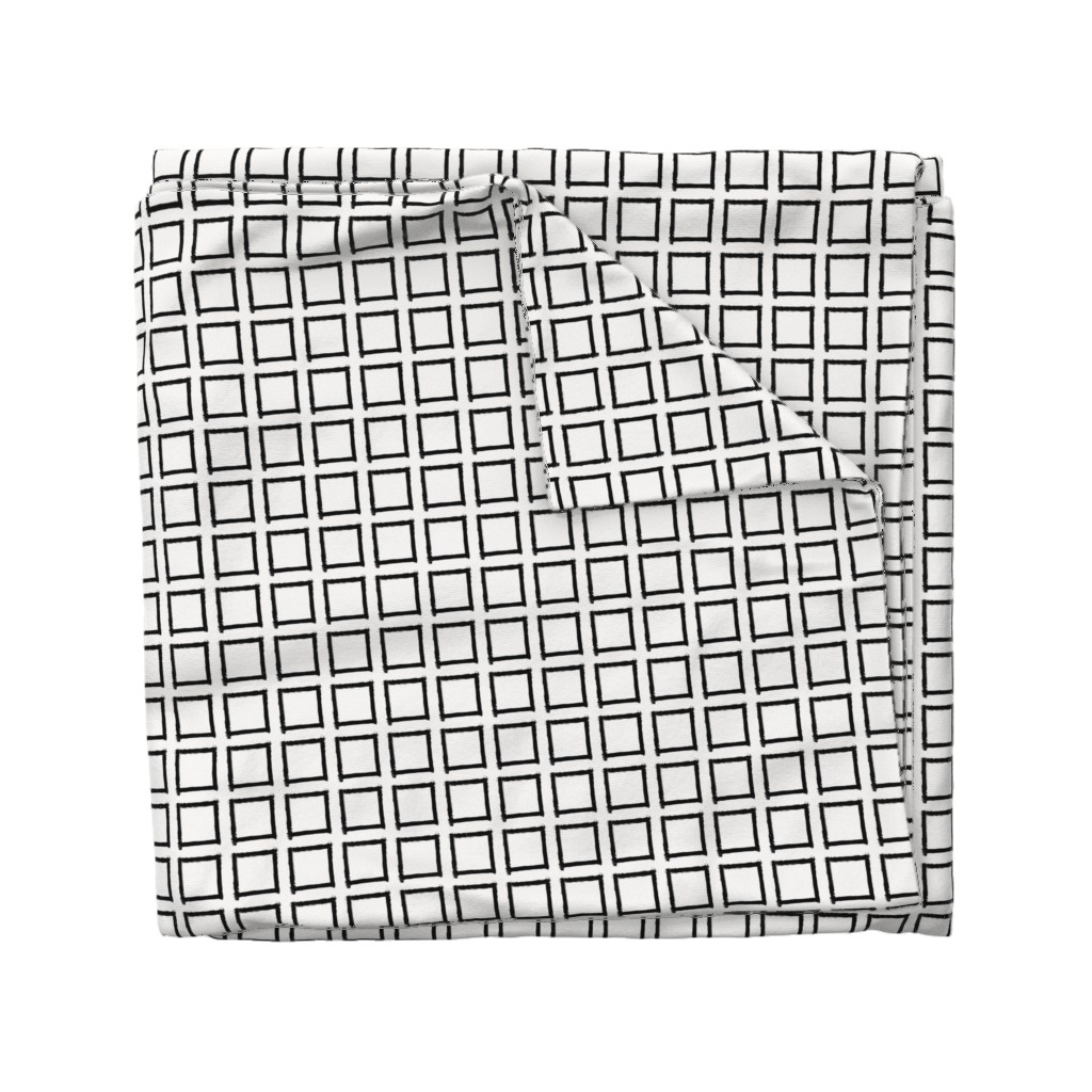 Wyandotte Duvet Cover featuring Square Strokes Black on White by form_creative