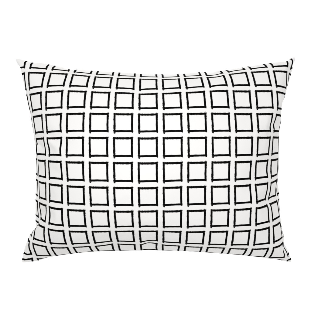 Campine Pillow Sham featuring Square Strokes Black on White by form_creative