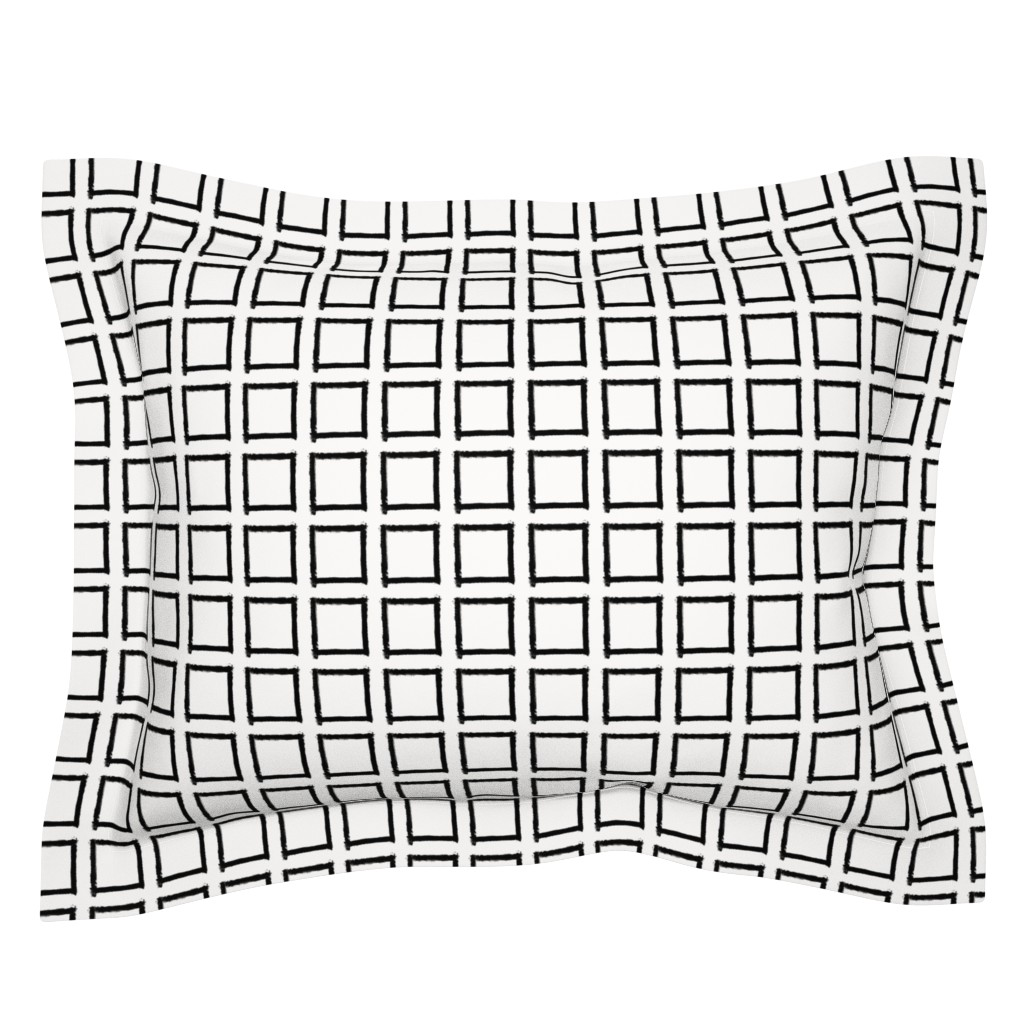 Sebright Pillow Sham featuring Square Strokes Black on White by form_creative