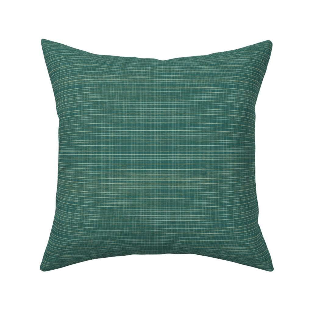 Catalan Throw Pillow featuring Tiny Teal Plaid by sarah_treu